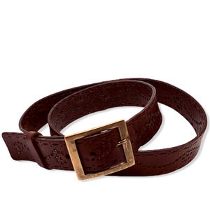 Tooled Leather Brown Belt w/Brass Buckle